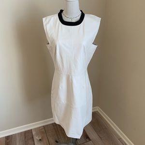 Trina Turk Ivory Leather Dalia Asymmetric Dress